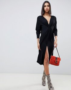 Read more about Asos design relaxed long sleeve midi dress with knot front