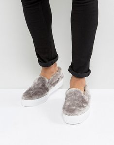 Read more about Asos slip on plimsolls in faux fur - grey