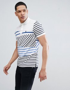 Read more about Polo ralph lauren cut sew contrast stripes pique polo custom regular fit in white - striped patchwo