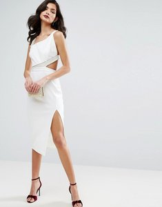 Read more about Asos pearl asymmetric bodycon midi dress - ivory