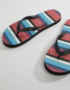 Read more about Asos design flip flops in black with stripe print - black
