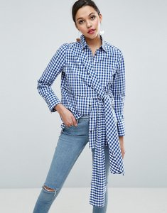 Read more about Asos gingham shirt with tie front - gingham
