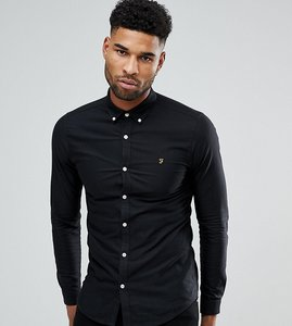 Read more about Farah tall skinny fit button down oxford shirt in black - black 001