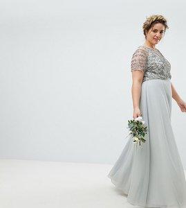 Read more about Asos design curve bridesmaid delicate beaded bodice maxi dress - grey