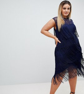 9c77560a680 Read more about Asos design curve fringe sequin sheer midi dress - navy