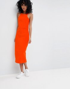 Read more about Asos design cord midi dress with racer neck in orange - red