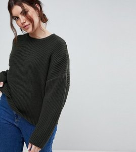 Read more about Asos curve chunky jumper in crop with volume sleeve - khaki