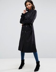 Read more about Asos longline classic trench coat - black