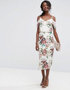 Read more about Oasis royal worcester floral print cold shoulder dress - multi