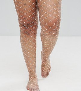 Read more about Asos curve oversized fishnet tights in white - white