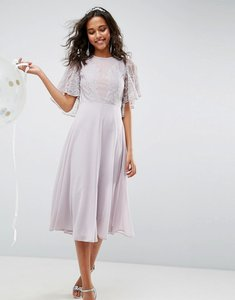 Read more about Asos wedding delicate lace applique midi dress - dusty lilac