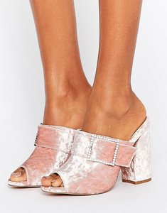 Read more about Asos harlequin jewelled buckle heeled mules - pink