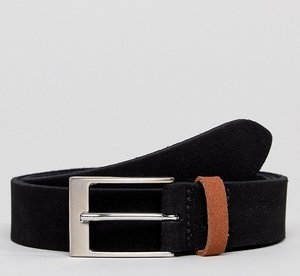 Read more about Asos plus smart slim suede belt in black with contrast tan suede keeper - black