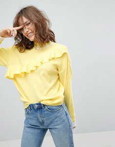 Read more about Asos jumper with ruffle in structured knit - yellow