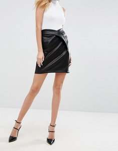 Read more about Asos textured leather look mini skirt - black
