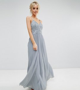 Read more about Chi chi london petite cami strap maxi dress with premium lace - grey