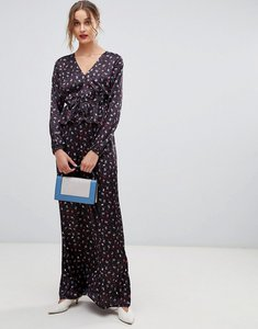 Read more about Lost ink maxi dress with ruffle waist in ditsy print - black floral