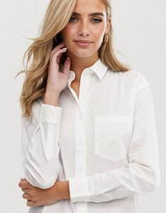 Read more about Asos slim boyfriend shirt with pleat detail back in stretch cotton - white