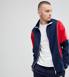 Read more about Reclaimed vintage inspired track jacket in navy and red - navy