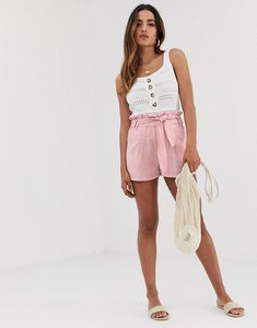 Read more about Stradivarius str linen tie waist shorts in pink