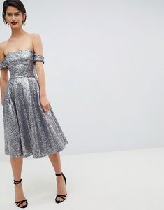 Read more about City goddess sequin bardot midi dress - silver