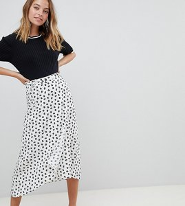 Read more about Asos design petite wrap jacquard midi skirt in mixed floral and spot print - white