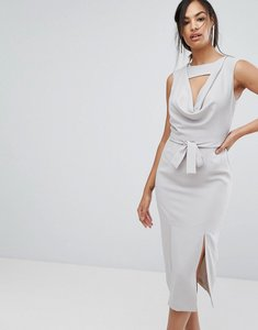 Read more about Lavish alice sleeveless cowl neck midi dress with double front split - grey