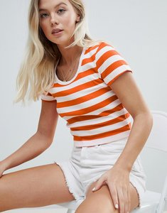 Read more about Weekday ribbed stripe crop top in red and white - red and white