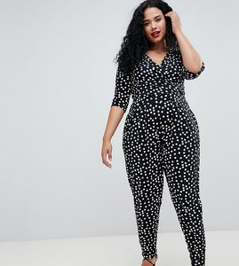Read more about Asos design curve wrap jumpsuit with 3 4 sleeve in spot - mono