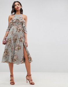 Read more about Asos ruffle pinny off shoulder midi dress in floral print - multi