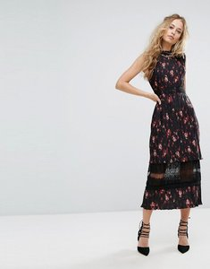 Read more about Foxiedox pleated floral midi dress with lace insert - multi