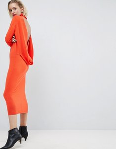 Read more about Asos white double twist back cashmere mix dress - orange
