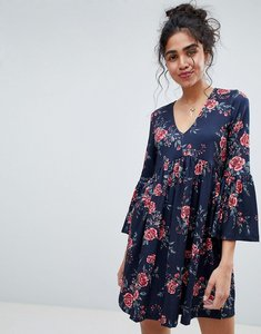 Read more about Asos smock dress with v neck and trumpet sleeve in rose print - rose print