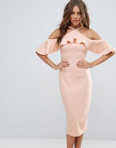 Read more about Girl in mind halterneck frill cold shoulder midi dress - light pink