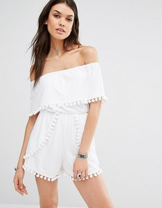 Read more about Missguided tall bardot pom pom playsuit - white