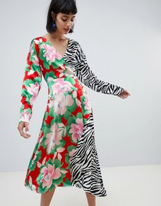 Read more about Asos design wrap maxi dress with long sleeve in mixed print