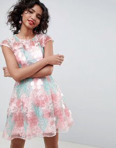 Read more about Asos edition sequin flower skater mini dress - multi