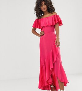 Read more about Flounce london tall bardot satin midi dress with frill at hem in coral