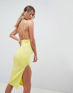 Read more about Asos design wrap front scuba midi dress - chartreuse
