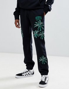 Read more about Billionaire boys club embroidered palm tree joggers in black - black