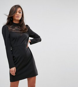 Read more about Fashion union tall long sleeve dress with high neck in lace - black