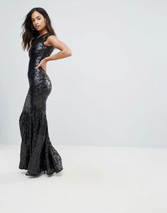 Read more about Club l mesh insert sequin maxi dress - black