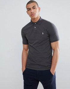 Read more about Polo ralph lauren slim fit pique polo with player logo in washed black - black mast