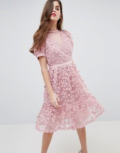 Read more about French connection lace applique dress with mesh panelling - teagown