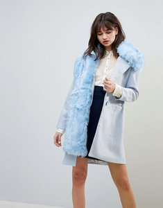 Read more about Cubic grace wool blend oversized coat with faux fur shawl - air blue
