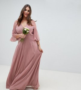 Read more about Asos design curve pleated panelled flutter sleeve maxi dress with lace inserts - dusty pink