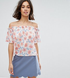 Read more about Miss selfridge floral print bardot top - multi