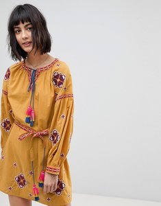 Read more about Rd koko long sleeve embrodiered festival skater dress - mustard