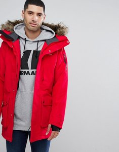 Read more about Didriksons 1913 marcel long parka with faux fur hood in red - red 040
