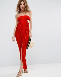 Read more about Asos beach slinky bandeau maxi dress - red